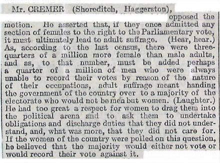 Il parere di William Cremer riportato dal The Times (Aprile 1906)