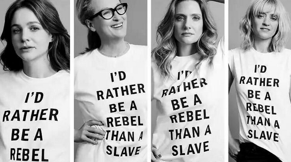 "Meryl Streep e le altre attrici di Suffragette con il controverso slogan ""I'd rather be a rebel than a slave"""