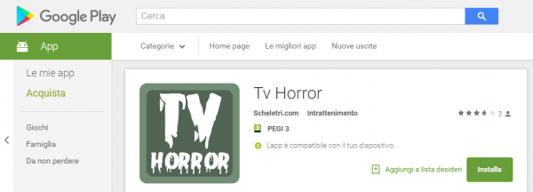 Scarica l'app TV Horror per Android dallo store Google Play
