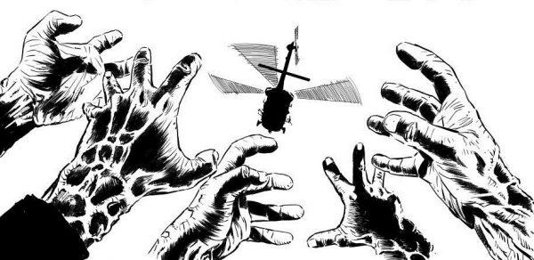Zombie with a Shotgun: una scena dal fumetto ufficiale, disegnato da Simone Guglielmini