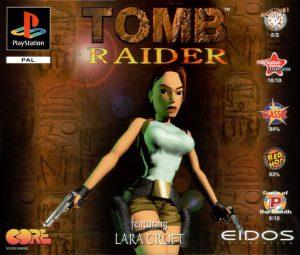 Videogame: La copertina del primo Tomb Raider (Eidos, 1996), nella versione per console PlayStation.