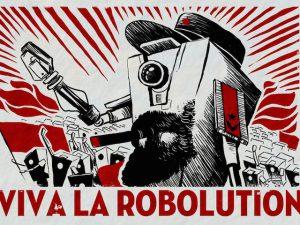 Un poster di propaganda robot, presente in una espansione del videogame Borderlands.