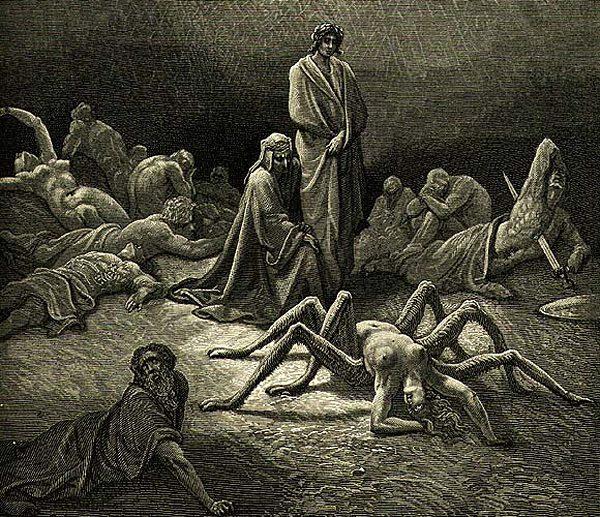 Il ragno nel fantastico: il mito di Aracne. Dante Alighieri incontra Aracne in Purgatorio, in una incisione di Gustave Dorè per La Divina Commedia.