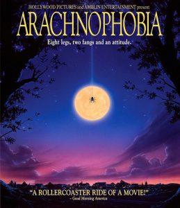 I ragni nel cinema fantastico: poster americano di Aracnofobia (Aracnophobia), cult-movie di Frank Marshall, in cui i ragni sono piccoli, velenosi e in gran quantità...