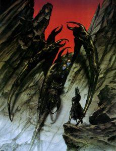I ragni nella narrativa fantastica: Ungoliant, la gigantesca Tessitrice di tenebra, e Melkor, da Il Silmarillion di J. R. R. Tolkien.