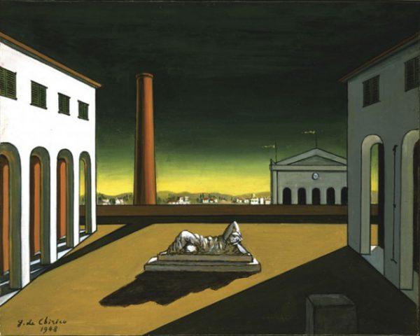 Giorgio De Chirico: Piazza d'italia (1948) - Ispirazione per il racconto horror Veduta di Carcosa, di Alessandro Girola
