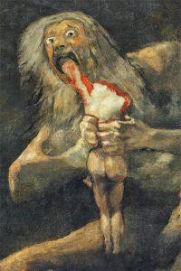 Il dio Saturno divora i suoi figli (un dettaglio del noto dipinto di Francisco Goya) - Ispirazione per il racconto horror Veduta di Carcosa, di Alessandro Girola