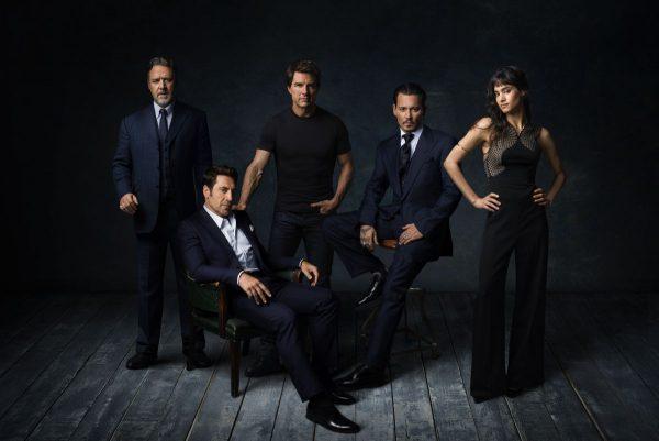Universal Studios: Gli attori del Dark Universe finora annunciati. Da sx: Russell Crowe, Javier Bardem. Tom Cruise, Johnny Depp, Sofia Boutella.